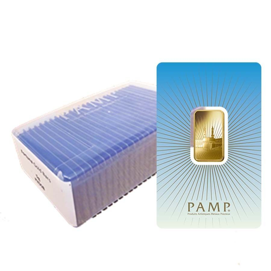 Box Of 25 10 Gram Pamp Suisse Gold Bar Ka Bah Mecca In Assay 9999 Fine Gold Bar Gold Bullion Bars Gold