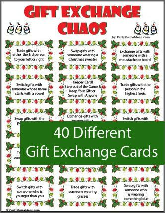 Gift Exchange game includes a variety of gift exchange cards and blank  cards too. Look like fun. - Christmas Gift Exchange Chaos - Printable Game Ladies Party