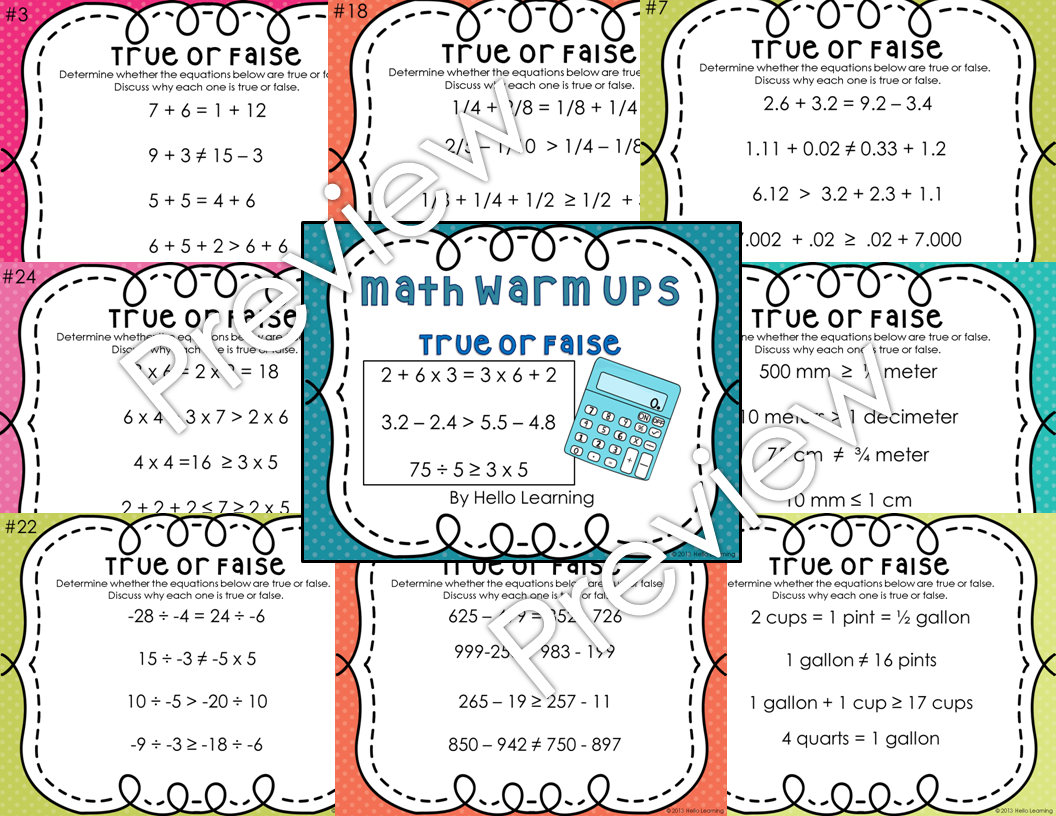 Math Daily Warm Up Slides True Or False