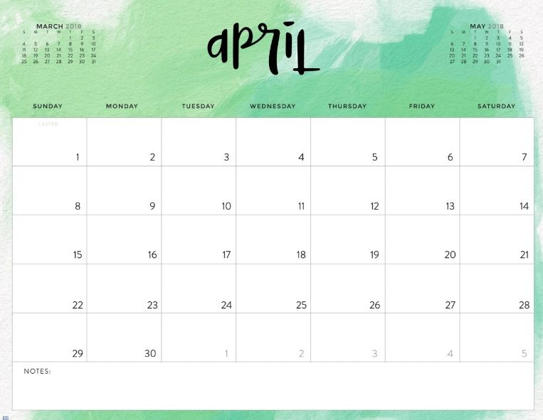 2018 April Wall Calendar 2018 Calendars 2018 calendar template