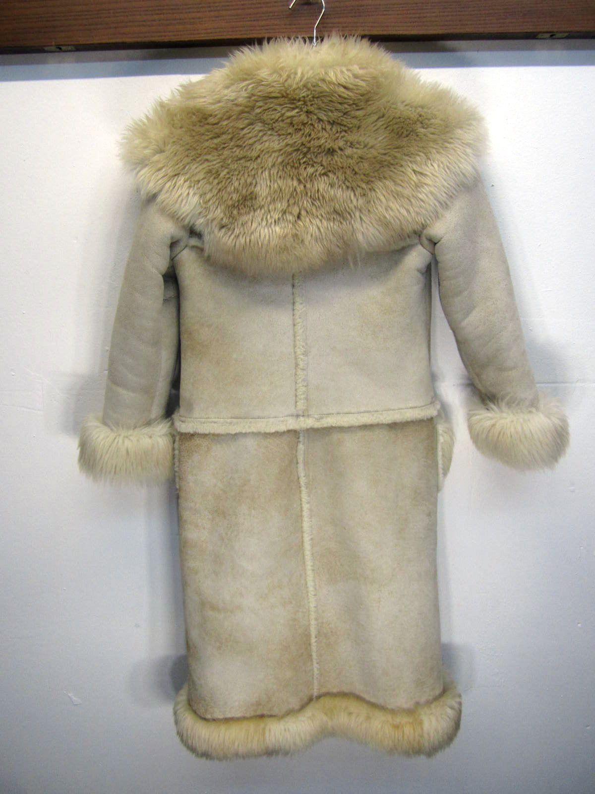 Vtg Overland Sheepskin Co Shearling Leather Coat Long Full
