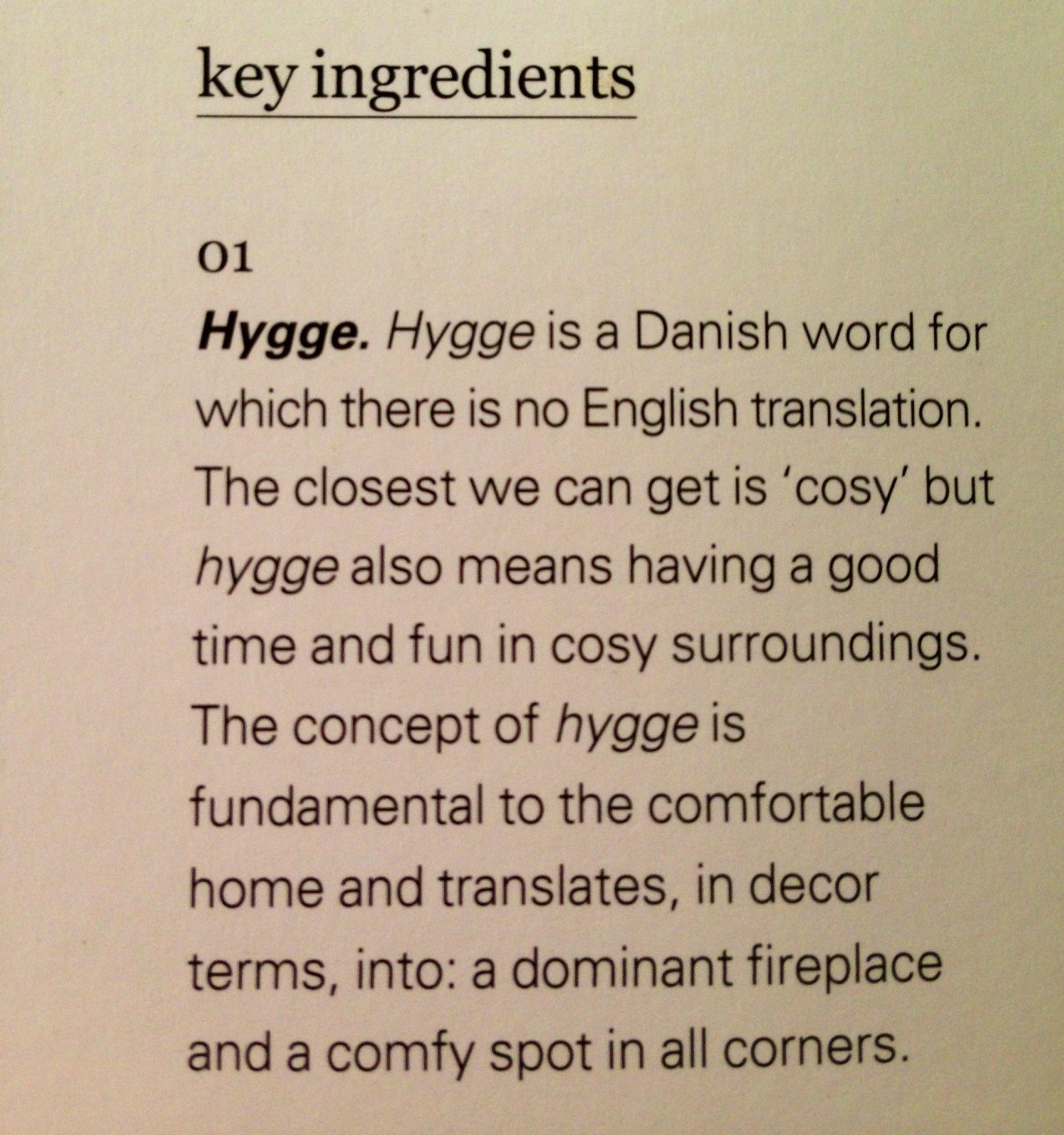 Hygge - a sense of comradeship, conviviality, and ...