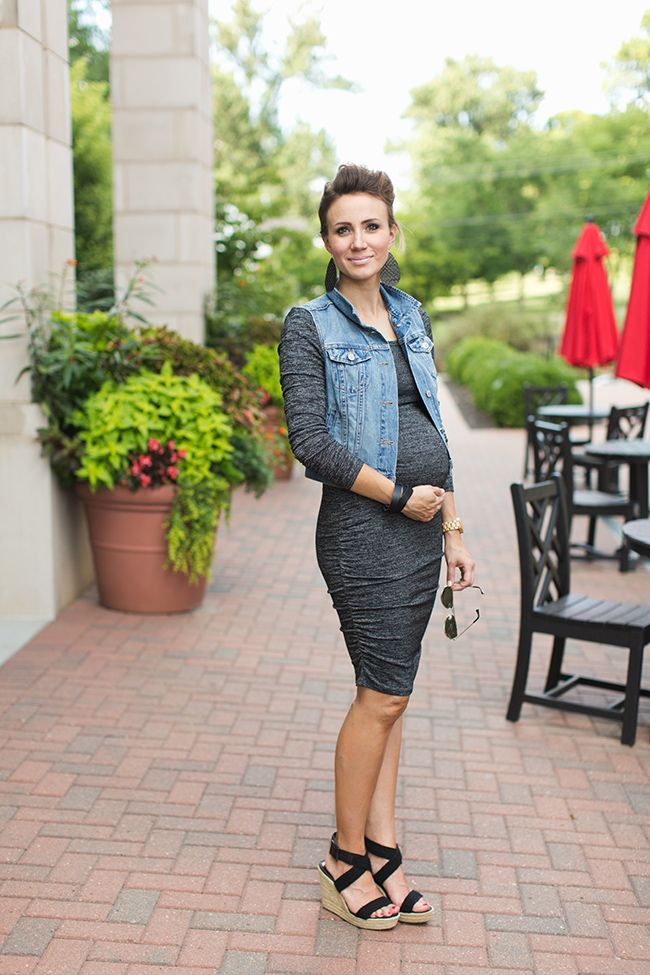 ONE little MOMMA: Body Con Dress and Denim Vest Maternity Style