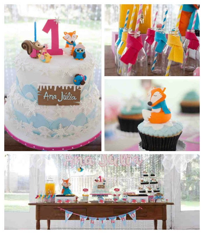 Kara S Party Ideas Retro Woodland 1st Birthday Party: Forest + Woodland Winter Wonderland Themed Birthday Party