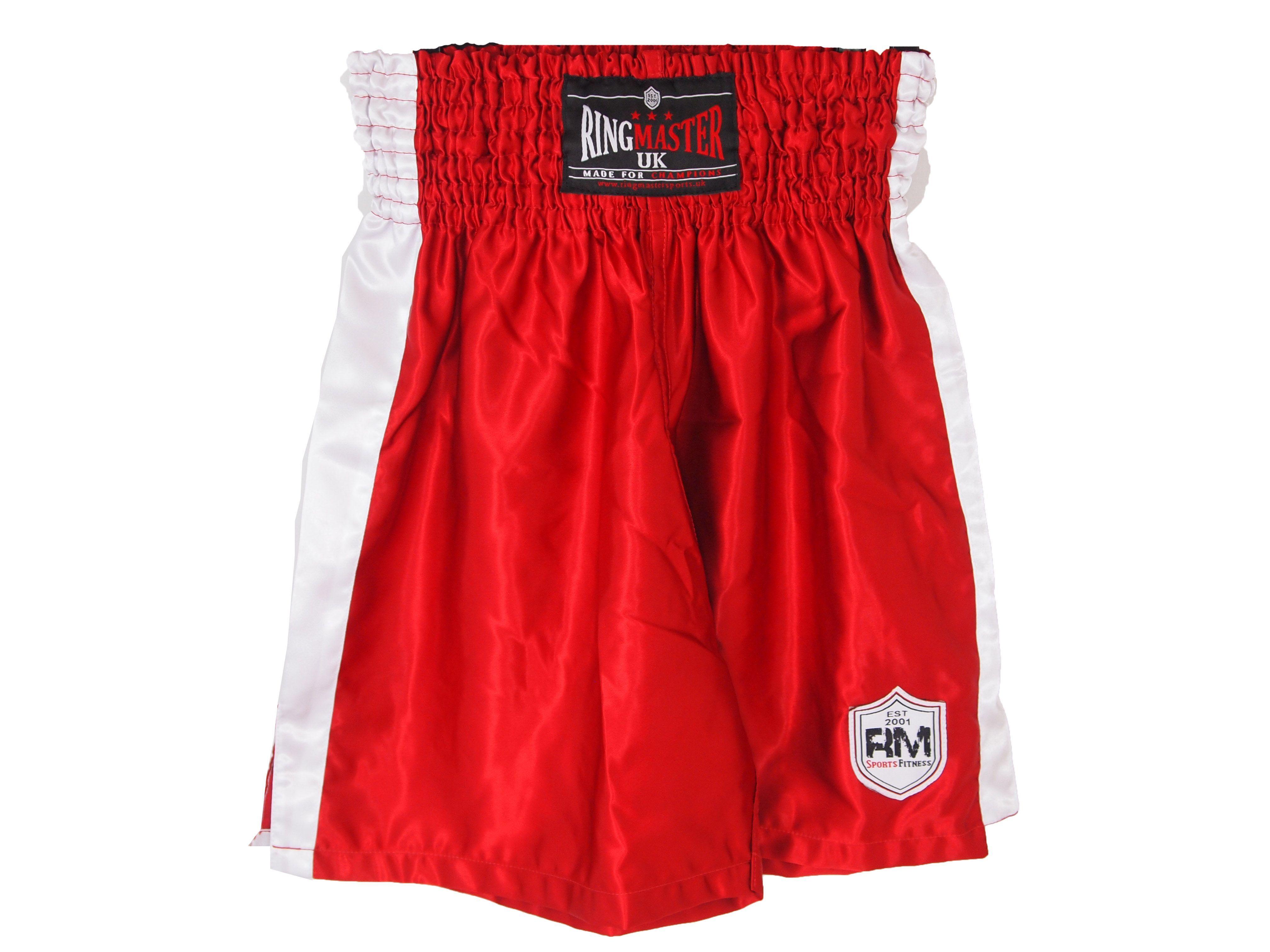 Ringmaster Uk Senior Boxing Shorts Red Mma Training Equipment Mma Training Boxing Equipment