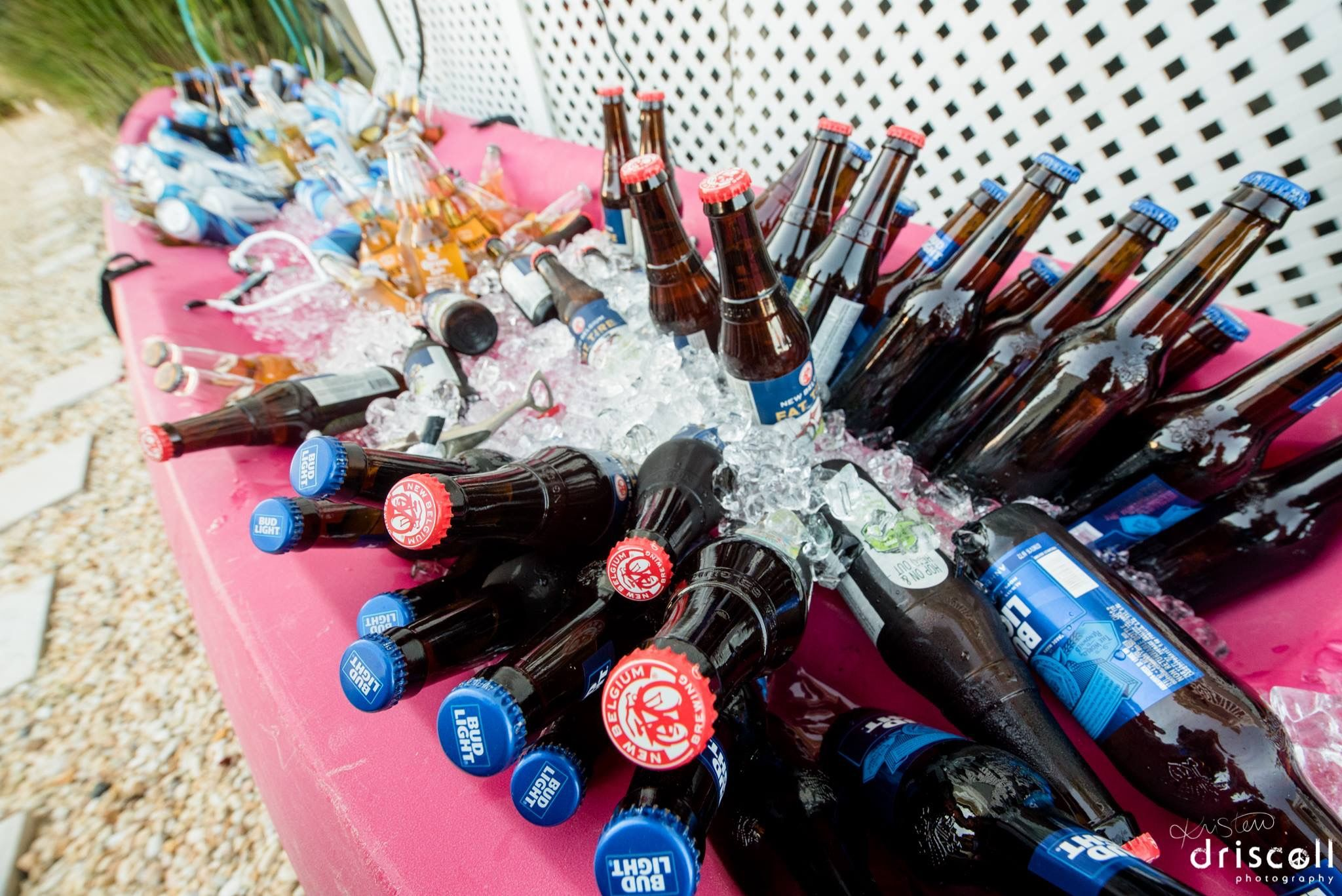 beer in a kayak for a nj backyard beach wedding nautical wedding