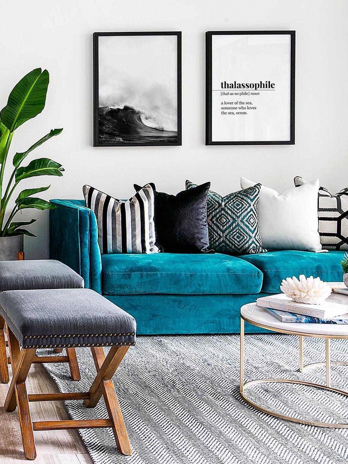Coastal Decor Thalassophile Definition Black Wave Poster Sea Lover Ocean Lover Gift Nau In 2020 Teal Sofa Living Room Living Room Turquoise Blue Living Room Decor