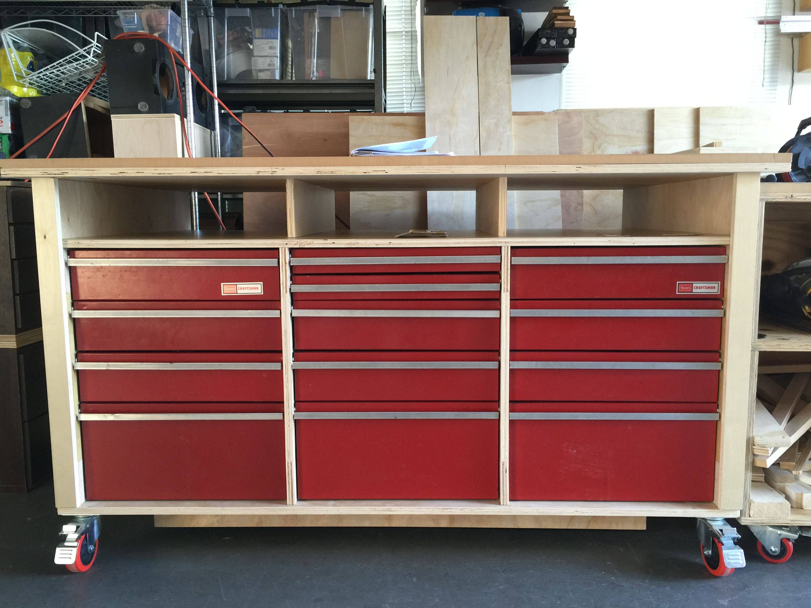Workbench With Recycled Craftsman Workbench Drawers