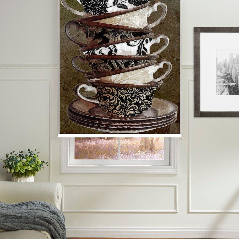 Tea Cups Printed Roller Blind  #rollerblinds #homedecor #interiordesign