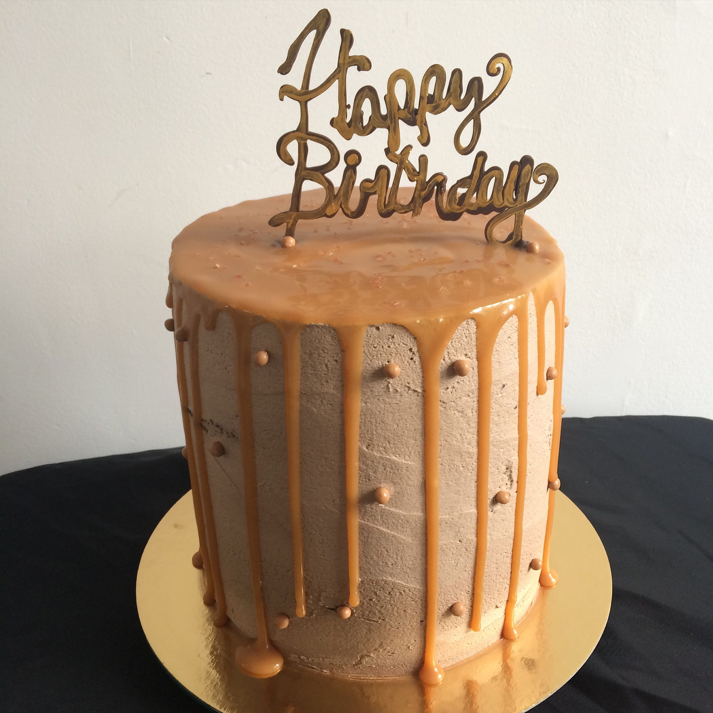 Sensational Chocolate Salted Caramel Cake With A Chocolate And Gold Happy Funny Birthday Cards Online Necthendildamsfinfo