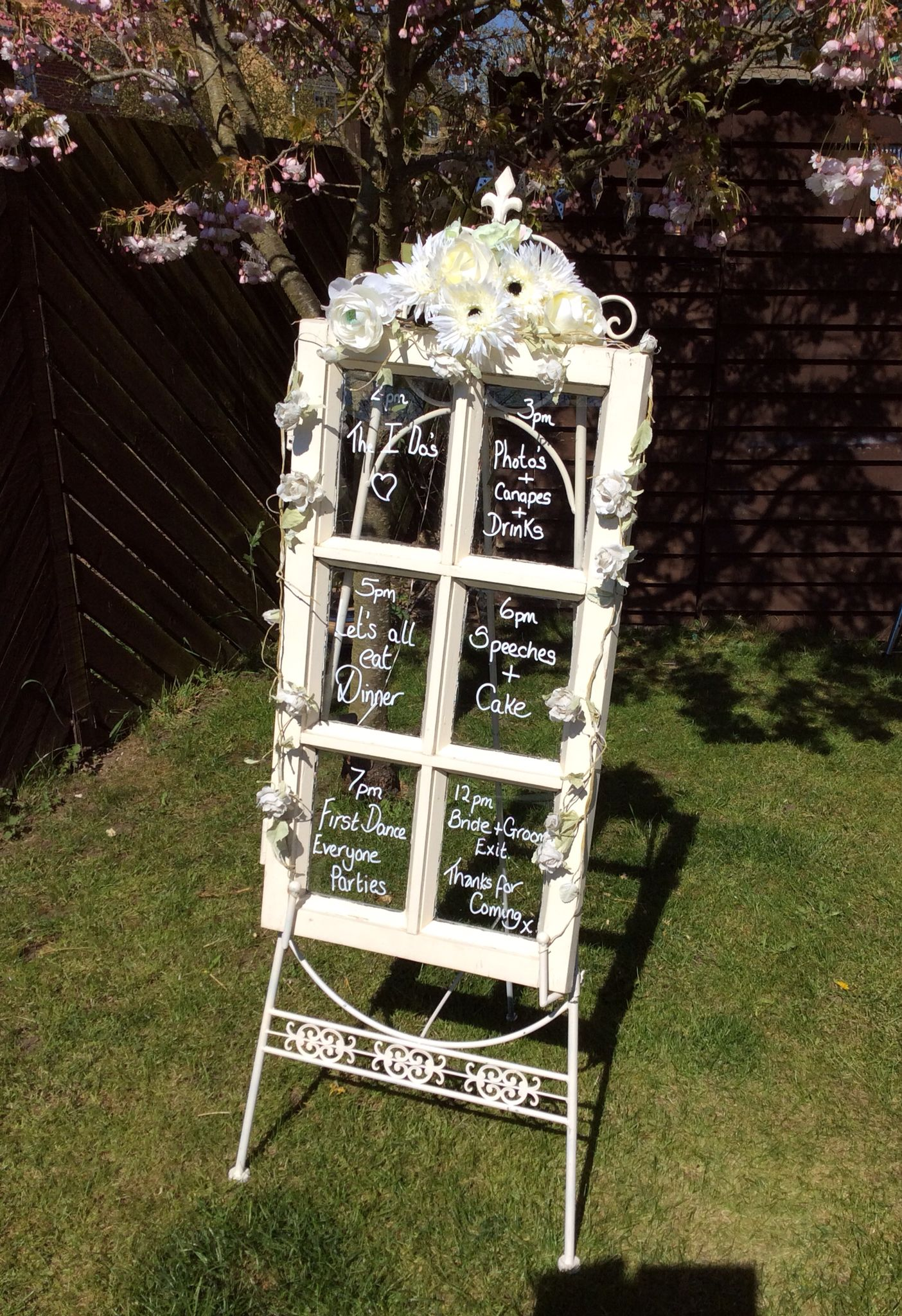Running order of the day display wedding decoration vintage window