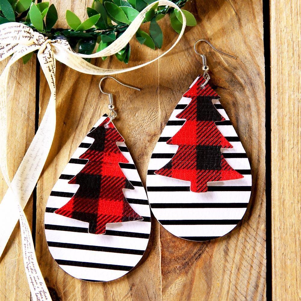$4.99|Christmas Tree Plaid Striped Dual-Layered Earrings