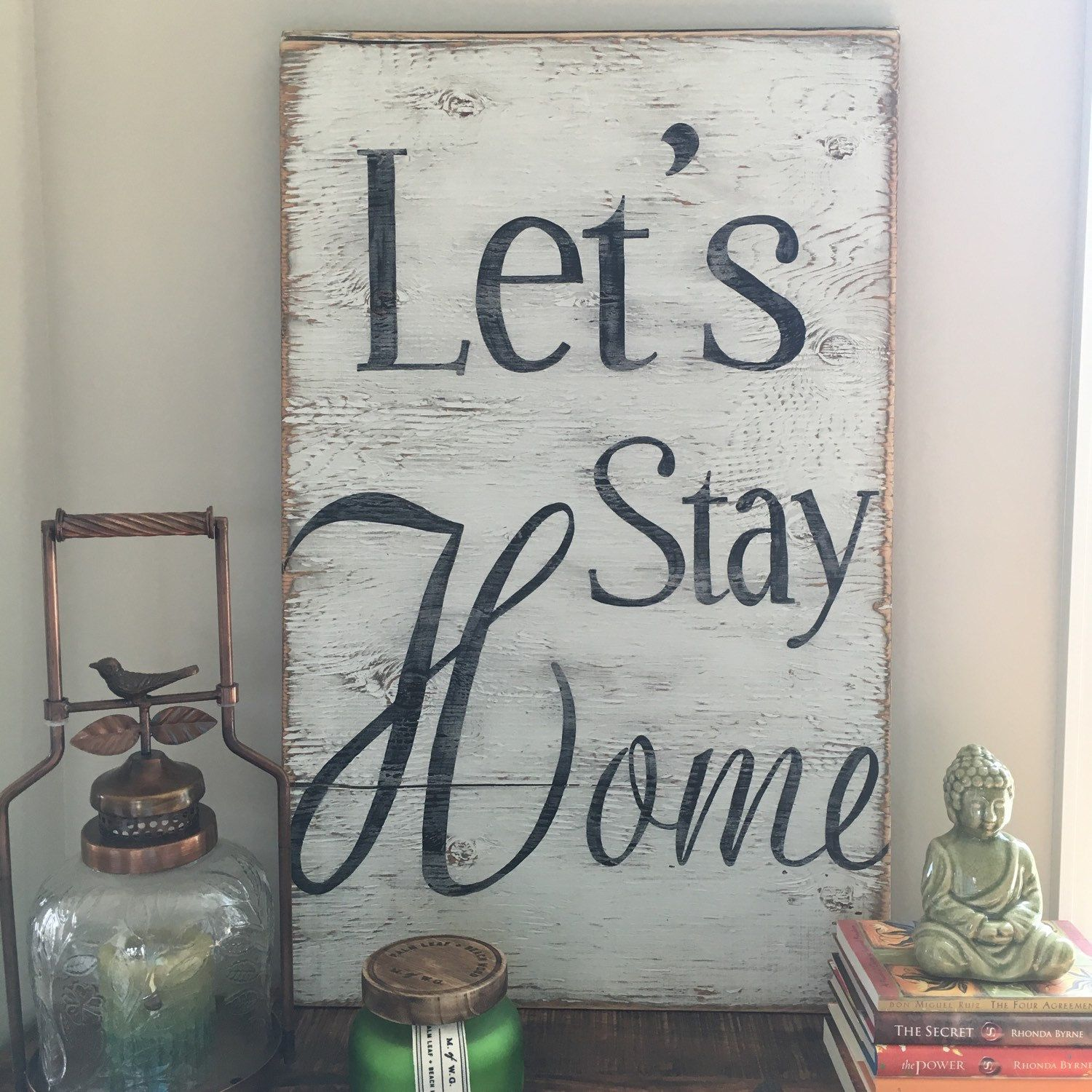 Let S Stay Home Hand Painted Wood Sign Home Decor Kitchen Sign Kitchen Decor Dinning Room Sign Living Room Sign Kitchen Sign