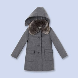 becfeb34e Faux fur wool coat - Girl - CHINE GREY - Jacadi Paris  202.30