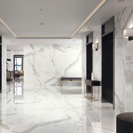 Carrelage Sol Et Mur Aspect Marbre Blanc Marbre Poli Statuary