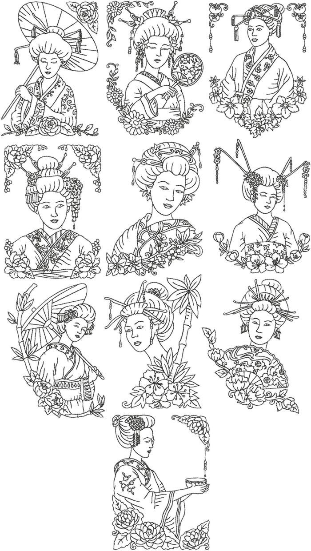 Advanced Embroidery Designs - Redwork Geisha Set   JAPONESAS ...