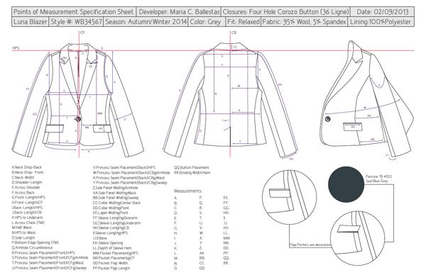 Specification Sheet by Maria Camila Ballestas, via Behance