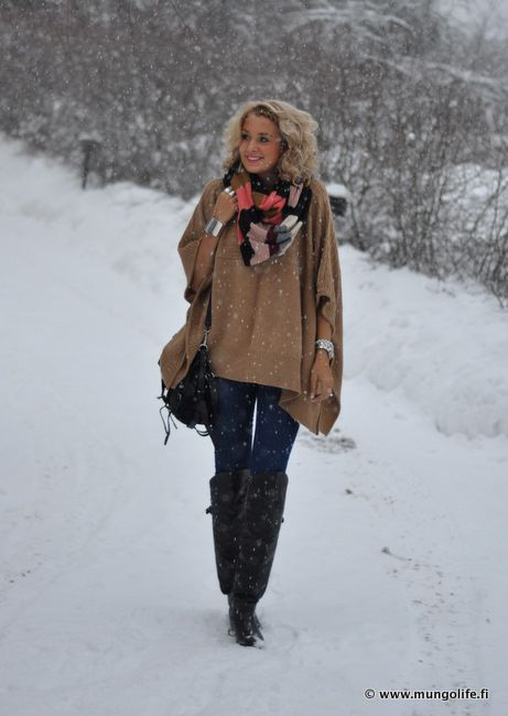 poncho & scarf with boots.