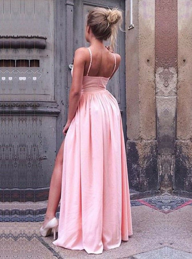 A-Line Spaghetti Straps Pink Pleated Prom Dress with High Split ...