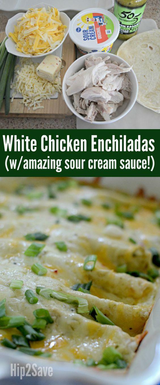 White Chicken Enchiladas with Sour Cream Sauce - Hip2Save #todieforchickenenchiladas