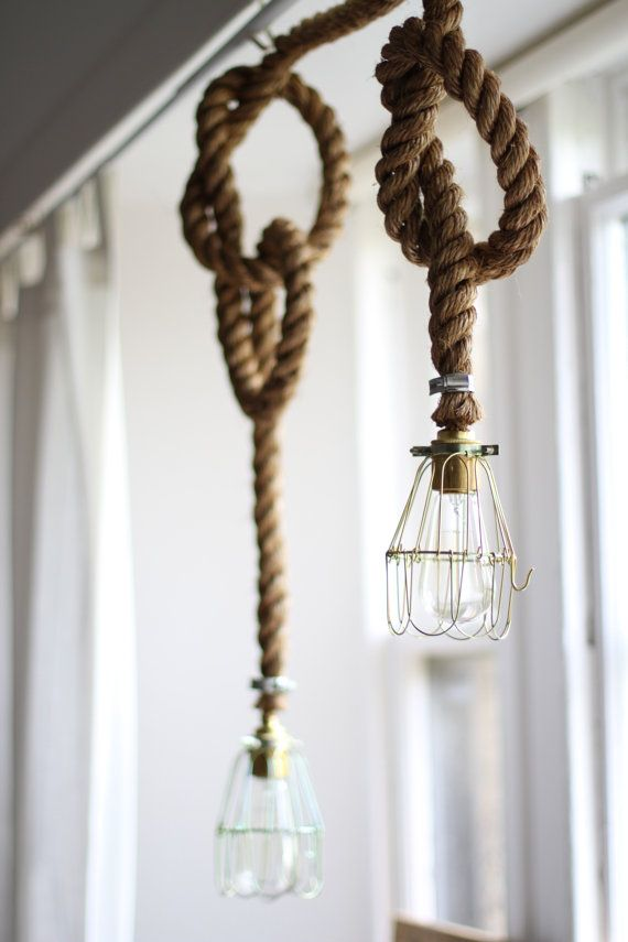 Edison bulb rope lamp rope light fitting industrial sailor super cool handmade manilla rope light flittinglamp available as a lamp fitted with aloadofball
