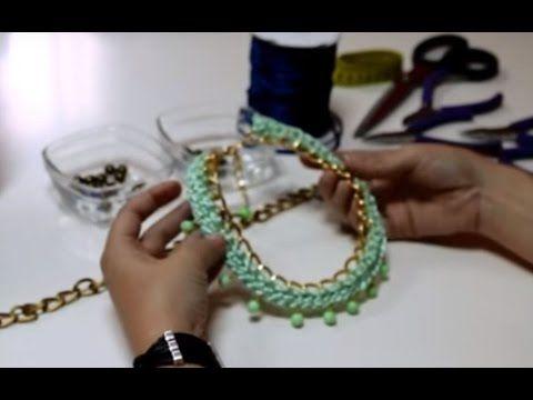 355e9bd332a9 Como hacer un Collar Crochet de bisuteria fina. Aprende a crear y montar un  COLLAR REALIZADO CON CADENA.COLA DE RATÓN