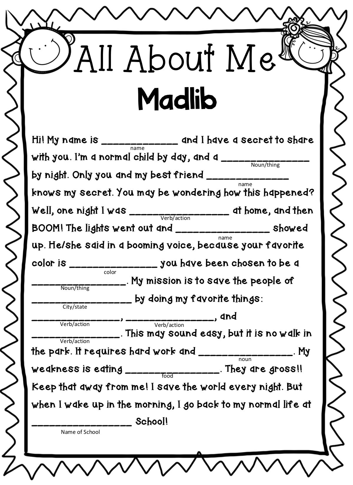 All About Me Madlib With Images