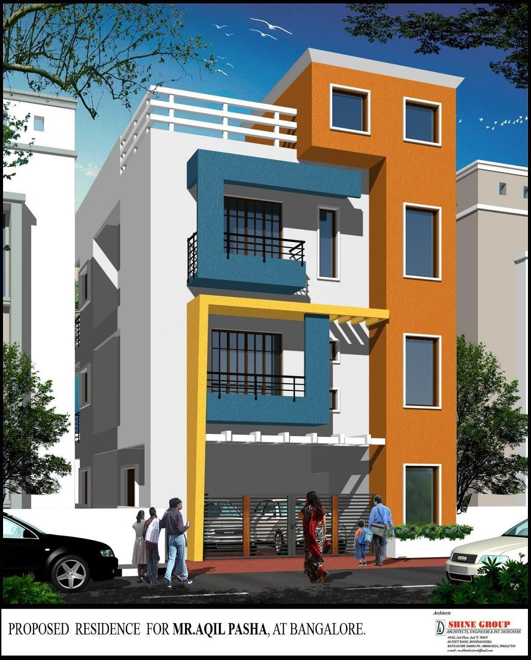 Beautiful elevation for a three storey house gharexpert for Front view of duplex house in india