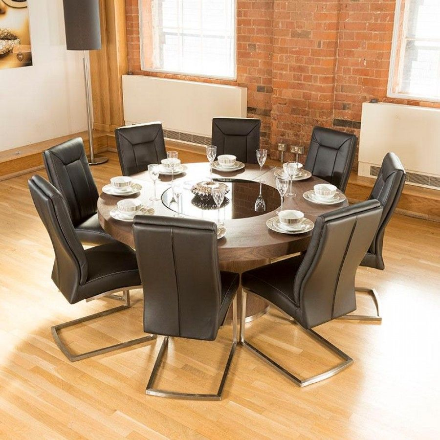 Luxury Large Round Elm Dining Table Lazy Susan 8 Chairs 4110