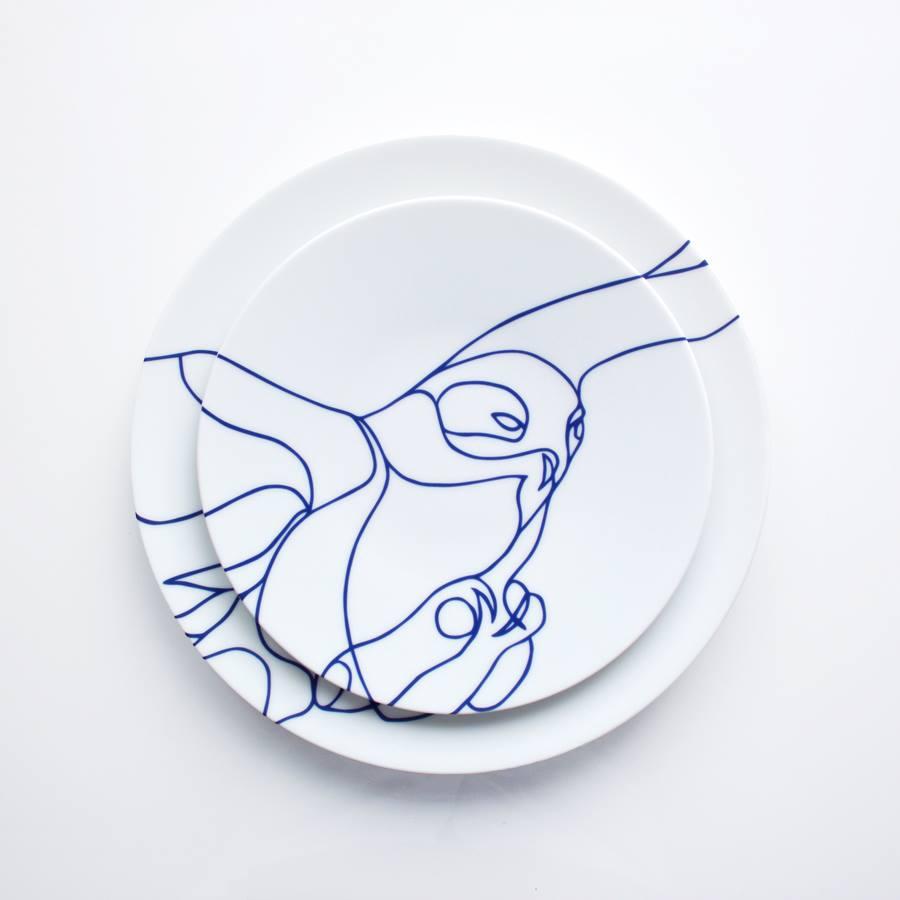 Set assiette plate et assiette dessert SNOWY OWL créé par Tes-Ted - Galerie HSP