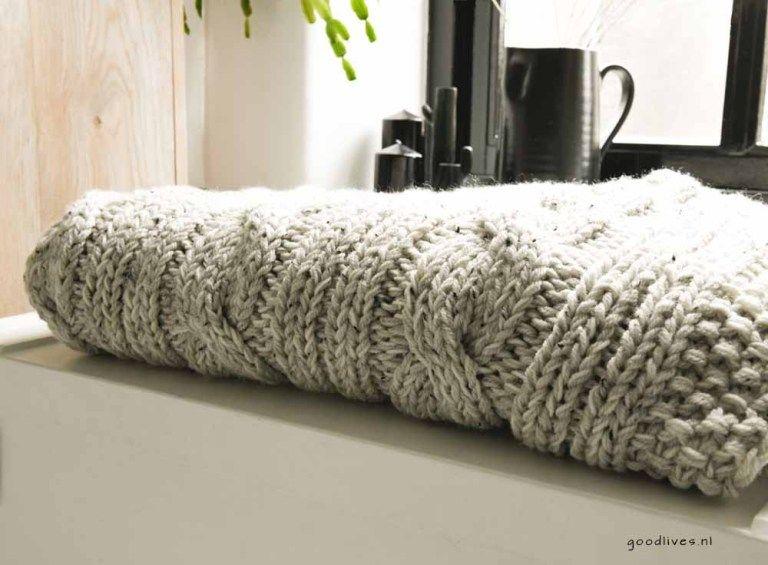 Beige Kabel Plaid Breien Diy Breien En Haken Knitting Crochet