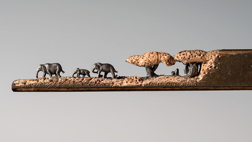 Micro sculptures carved in the graphite of a pencil