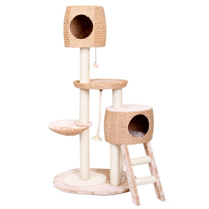 """Features  Cat house Eco-friendly Product Details  Frame Material: Manufactured wood Pieces Included: Furniture parts, hardware Number of Tiers: 3 Free Standing: Yes  Weights & Dimensions  Overall: 64"""" H x 31"""" W x 23"""" D Doors in the cat tree are 8"""" in diameter Overall Product Weight: 47lbs Features  Frame Material: Manufactured wood Frame Material Details: MDF Pieces Included: Furniture parts, hardware Number of Tiers: 3Free Standing: Yes"""