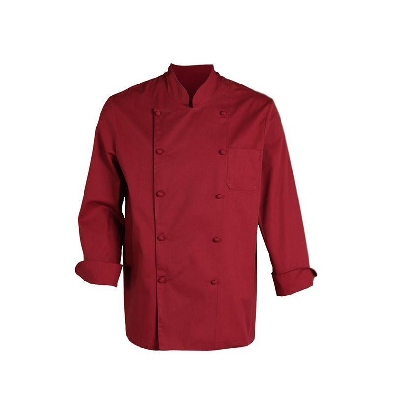 a80151db637 9061 chaqueta unisex de cocina con manga larga y botones en color burdeos