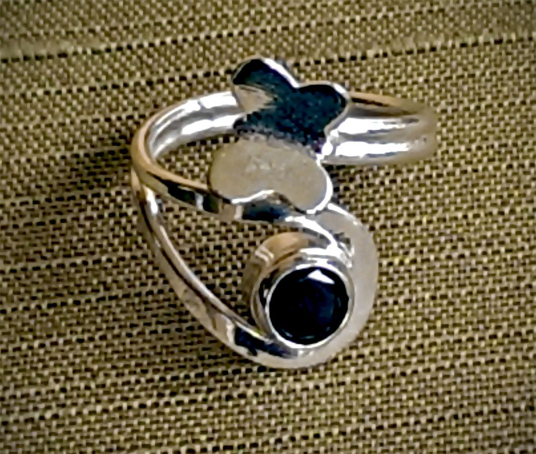 Anillo de Plata .925  Mariposa con circonia Ajustable