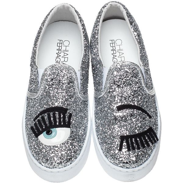 1e3a8060039a CHIARA FERRAGNI Cf577 Wink Eye Sneaker Silver Glitter (1