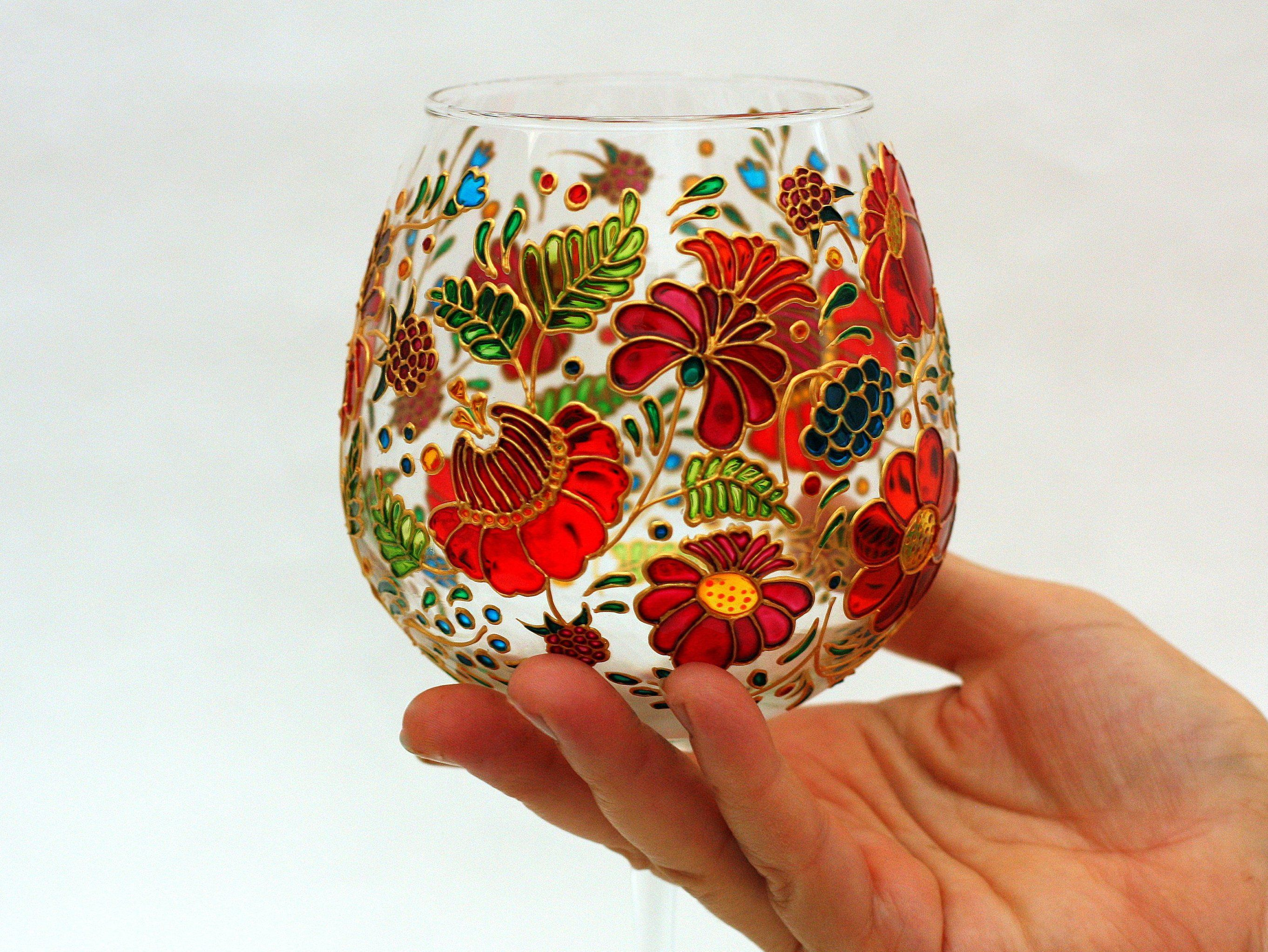 Hand Painted Red Wine Glass Large Floral Wedding Goblet Set Etsy Painted Wine Glasses Flowers Hand Painted Wine Glasses Wedding Painted Wine Glasses