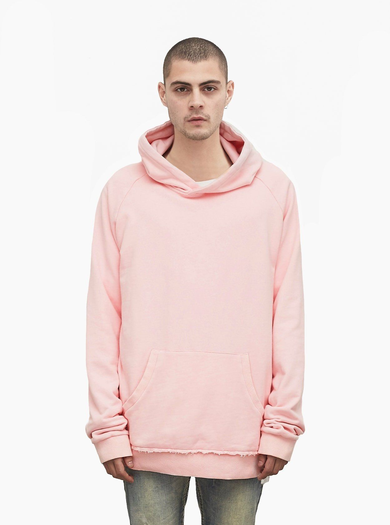 Profound Aesthetic Oversized Pastel French Terry Hoodie In Light Pink