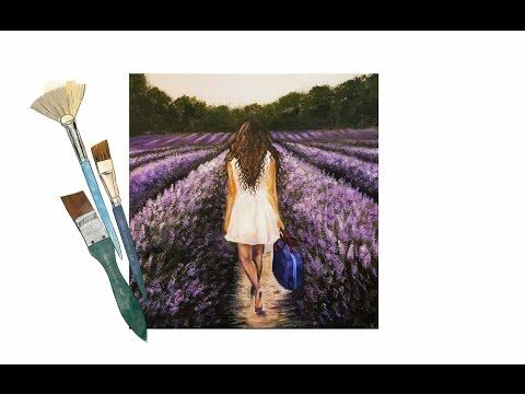How to Paint A Girl in a Lavender Field - PAINT ALONG - Real Time - YouTube