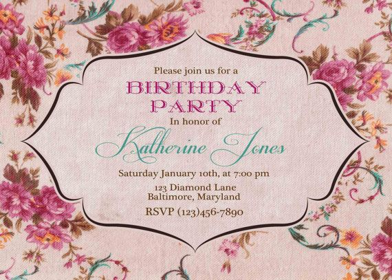 Adult Birthday invitation. Vintage Roses. Burlap. Linen. Tea Garden invitation. Bridal shower invite. Baby shower. Personalized. Printable on Etsy, $18.00