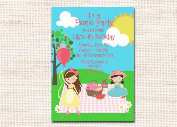 picnic summer park birthday party invitation printable digital