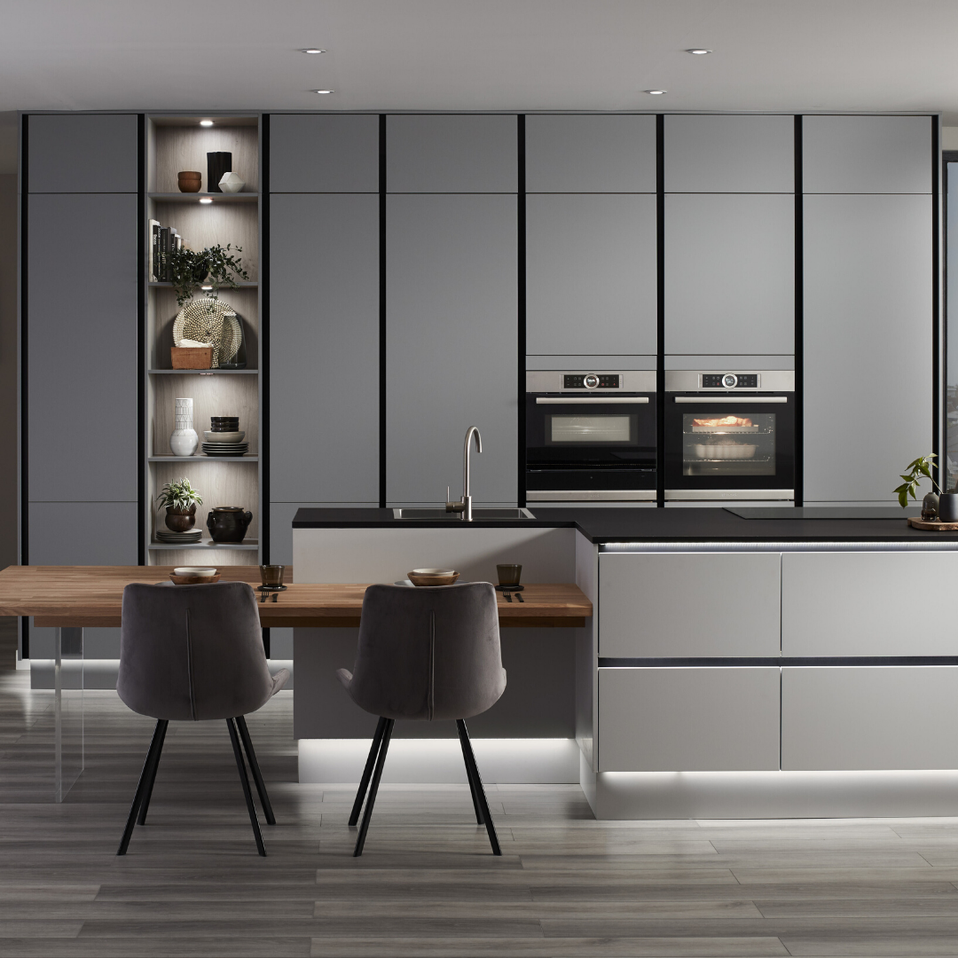 Hockley Super Matt Slate Grey Handleless Kitchen Grey Handleless Hockley Kitchen Mat In 2020 Contemporary Grey Kitchen Modern Kitchen Grey Floor Handleless Kitchen