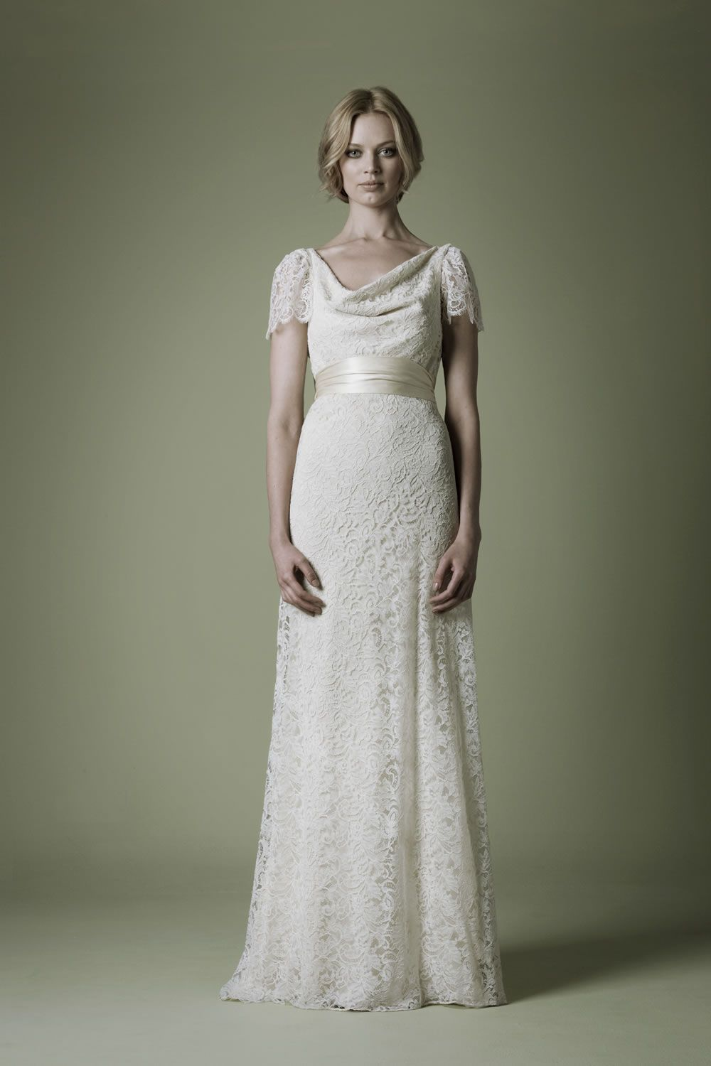 1940s Style Wedding Dress With Dark Ivory Corded Lace Cowl Front And Back