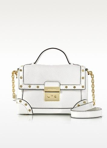 4abf0715f881cb MICHAEL KORS Cori Optic White Pebble Leather Small Trunk Bag W/Studs. # michaelkors #bags #shoulder bags #hand bags #leather #lining #