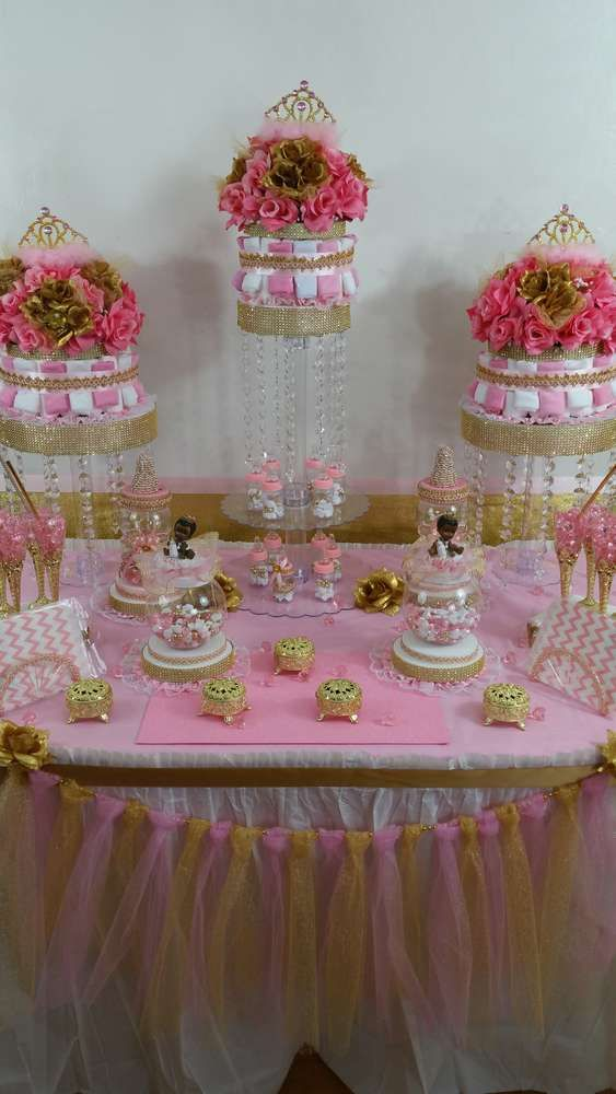 lovely dessert table at a pink and gold baby shower party see more party planning