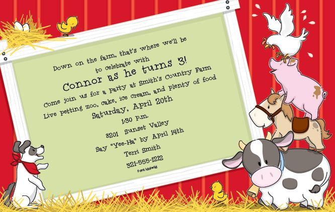 Farm Animal First Birthday Invitations – Farm Party Invitations