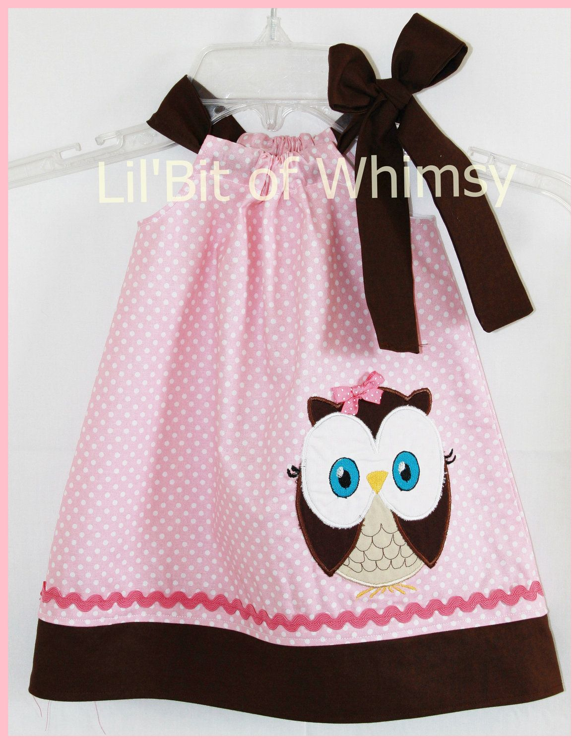 Super Cute Pink and Brown Owl applique Dress. $25.00, via Etsy.