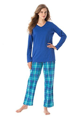 """Dreams & Co. Women's Plus Size Jersey And Flannel Pj Set Dark Turq Plaid,M. relaxed silhouette. 28"""" length keeps you warm down to below the hips. banded V-neckline. long roomy sleeves with armholes designed for ease. Easy pull-on style with straight leg and contrast elastic waist with drawstring."""