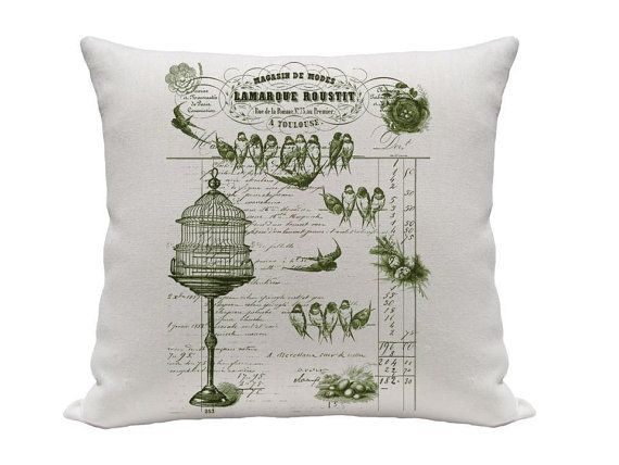 Birds on Balance Sheet Pillow Cover Green and by gracioushome, $16.00