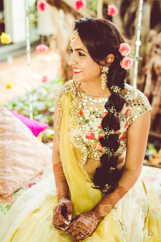 Stunning braided ponytail for mehendi function. See more ...